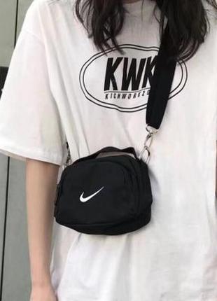 Мини сумка микро сумочка в спортивном стиле черная найк мужска...