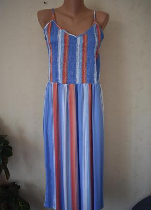 Красивое натуральное платье в полоску f&f