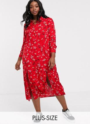Платье миди из вискозы в цветочек на пуговицах с длинным рукав...