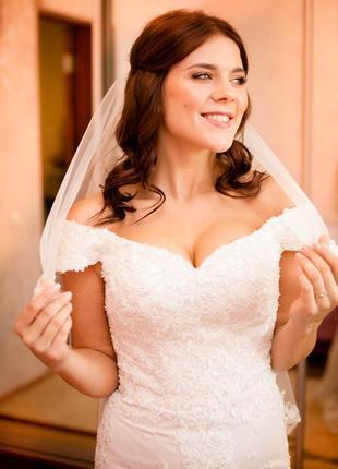 Свадебное платье корсет рыбка, в камнях
