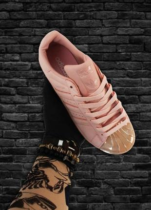 Женские летние кроссовки adidas superstar pink gold.
