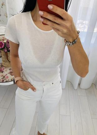 Белая базовя футболка primark