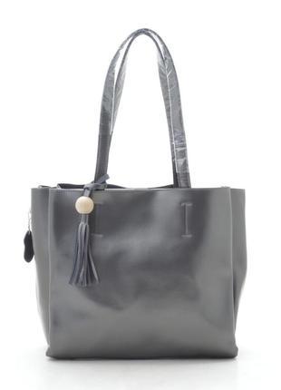 Кожаная сумка-шоппер в темно-сером цвете