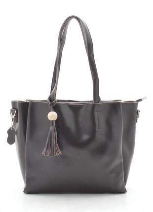 Кожаная сумка-шоппер в кофейном цвете