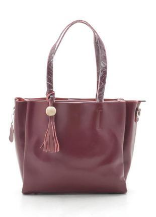 Кожаная сумка-шоппер в винном цвете