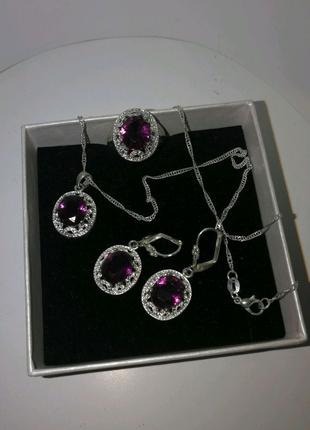 Набор комплект стерлинговое серебро 925 кольцо подвеска серьги
