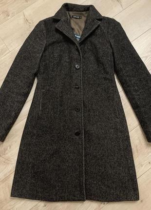 Коричневое базовое шерстяное демисезонное пальто шерсть размер с