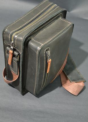 Мужская кожаная сумка под ежедневник, ручная работа, Black CAT