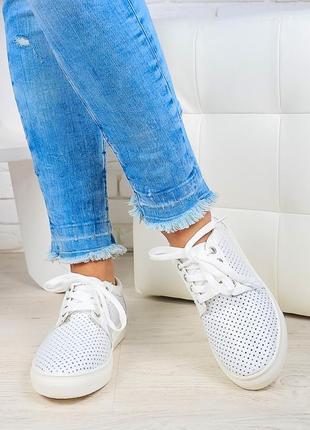 Кеды летние женские белые кожаные с перфорацией размер 36-40 в...