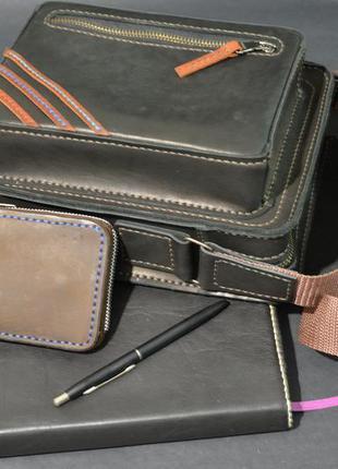 Мужская кожаная сумка под ежедневник, ручная работа black cat