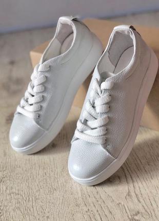 Кожаные белые кеды кроссовки криперы
