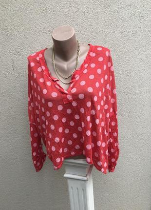 Легкая,льняная трикотажная кофта,блуза,рубаха красная в горохи...