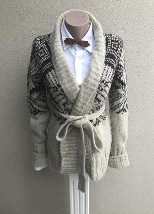 Теплый,вязаный кардиган,кофта под пояс в орнамент,шерсть,альпа...