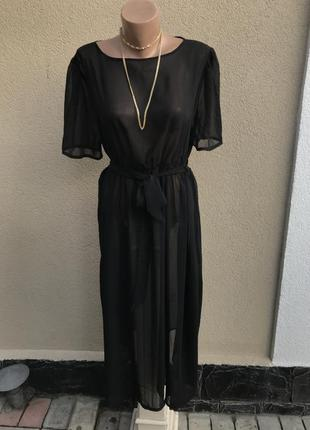 Красивое,черное,прозрачное платье под пояс,большой размер