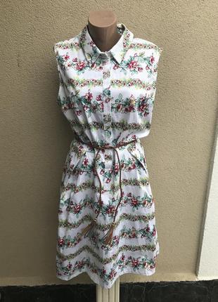 Платье ,сарафан из плотной,хлопковой ткани,в цветочный принт,б...