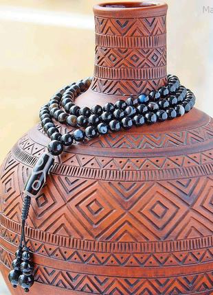 Буддийские чётки из натурального камня Черный агат с Гуру-бусиной