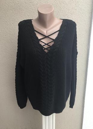 Вязаная,черная кофта,свитер в косы,шнуровка(переплет)по груди,...