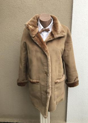Красивая дубленка под замшу,на меху с переливом,куртка,пальто ...