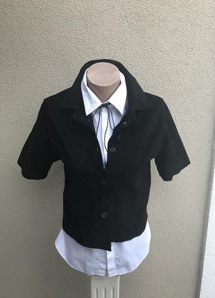 Черный,укорочен. жакет,пиджак,рубашка короткий рукав,замша 100...