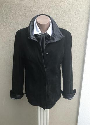 Черная,мягкая,комбинированная замша+кожа куртка,жакет,пиджак, ...