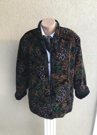 Эксклюзив. жакет,пиджак,куртка,рисунок по бархату,внутри мехов...