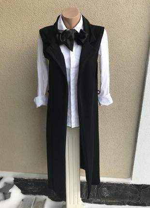 Черная,удлиненная жилетка,без подкладки,кардиган без рукавов,