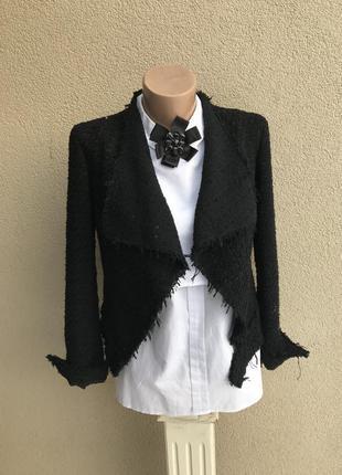 Укороченный,твидовый жакет,пиджак,косуха с бахромой в стиле ша...