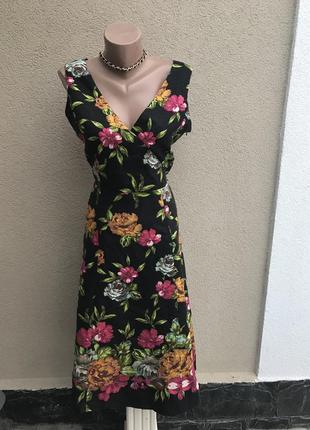 Льняное платье,сарафан(на подкладке) в цветочный принт,лен 100...