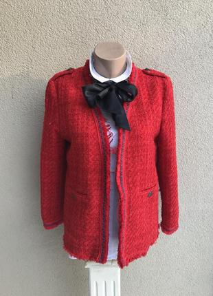Твидовый,красный жакет,пиджак без застежки с бахромой в стиле ...