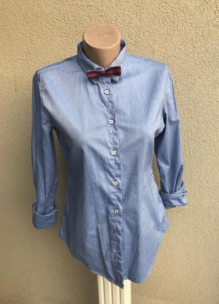 Голубая рубашка с переливом,под джинс,нашивка на рукавах,хлопо...