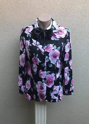 Красивый льняной жакет,пиджак,цветочный принт,100% лен,указан ...