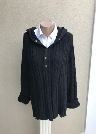 Кардиган,черная кофта с капюшоном,джемпер вязанный в косы,унис...