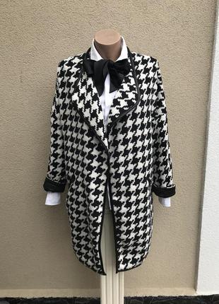 Шерстяное пальто,кардиган на подкладке,внутренняя застежка,фра...