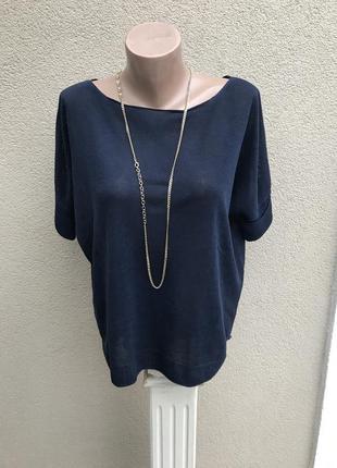 Темно-синяя блузка,кофточка льняная,трикотажная,футболка,легка...