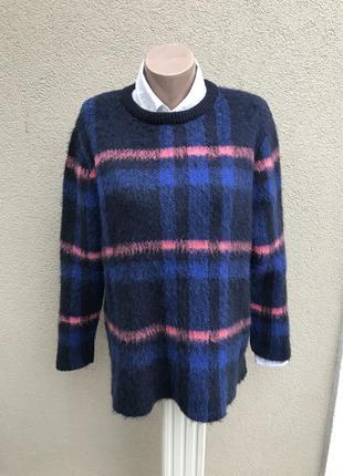 Теплая,пушистая кофта в клетку,джемпер,свитер удлинен. по спин...