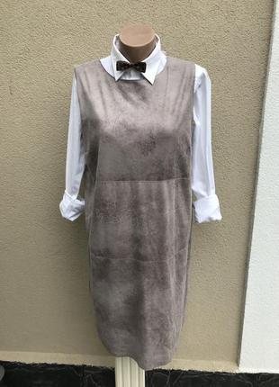 Платье,сарафан,по замшу,кожу выворка, на подкладке,большой раз...