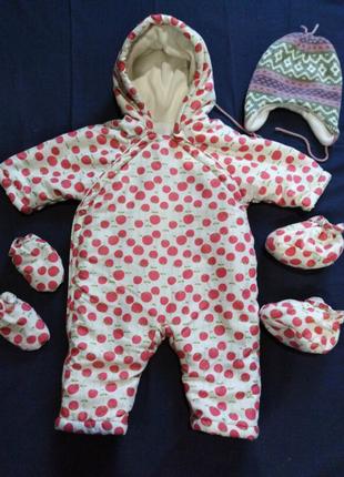 Комбинезон демисезонный девочка, мальчик 3-6 месяцев + ПОДАРОК