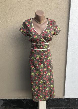 Романтическ. платье,сарафан,цветочный принт,окантовка кружево,...