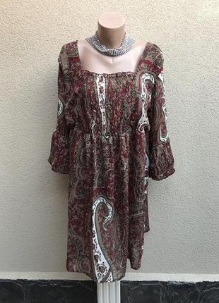 Платье,блуза.туника с открытой спиной,воланы по рукавах,этно, ...