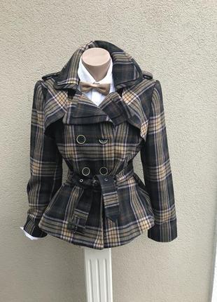 Шерстяное,короткое пальто в клетку,жакет,пиджак под пояс,куртк...