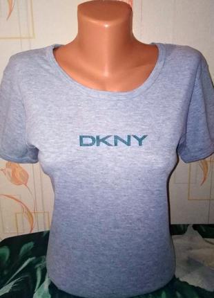 Стильная футболка серого цвета dkny 100% combed cotton made in...