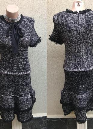 Платье трикотаж,твидовое,бахрома,стиль шанель,жабо,бант по гру...