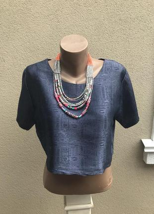 Укорочённая блуза из тайского 100% шелка,шелковый топ с перели...