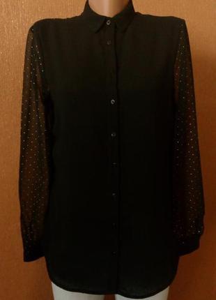 Полупрозрачная шифоновая блузка рубашка размер 8 zara