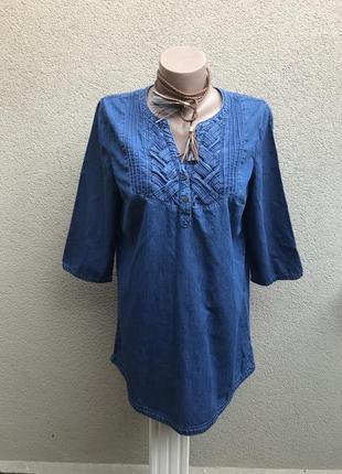 Джинс блуза удлинён. спинка,туника,рубаха с плетением в косы п...