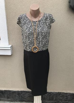 Комбинированное платье,сарафан офисный,вискоза,большой размер ...
