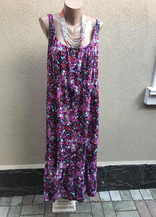 Длинное платье,сарафан в цветы,воланом по низу,открытая спина,...