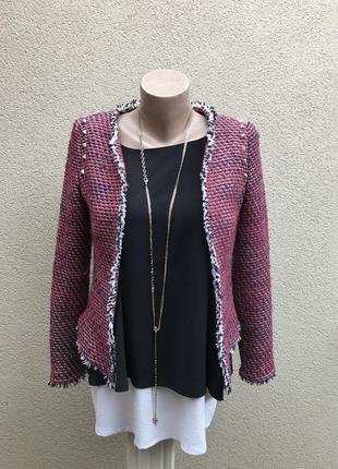 Твидовый жакет,пиджак с бахромой,заклепки,без застежки,в стиле...