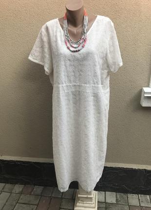 Белое(кремовое)платье, кружевное,на подкладке, большой размер,...