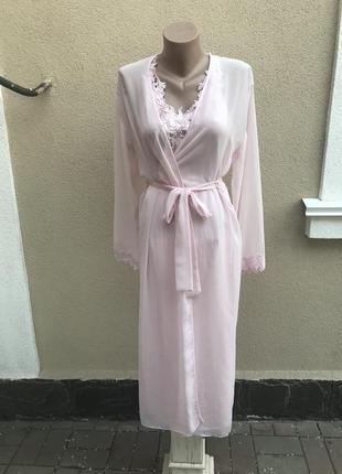 Розовый комплект белья,халат-пинюар атласный,кружево,открытая ...